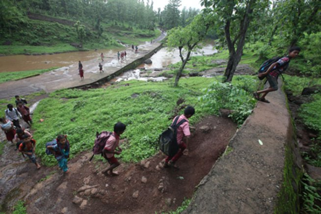 Photo: Indian Express, In Photos: A Rough Road To The Classroom | Leher NGO in India | Child Rights Organization