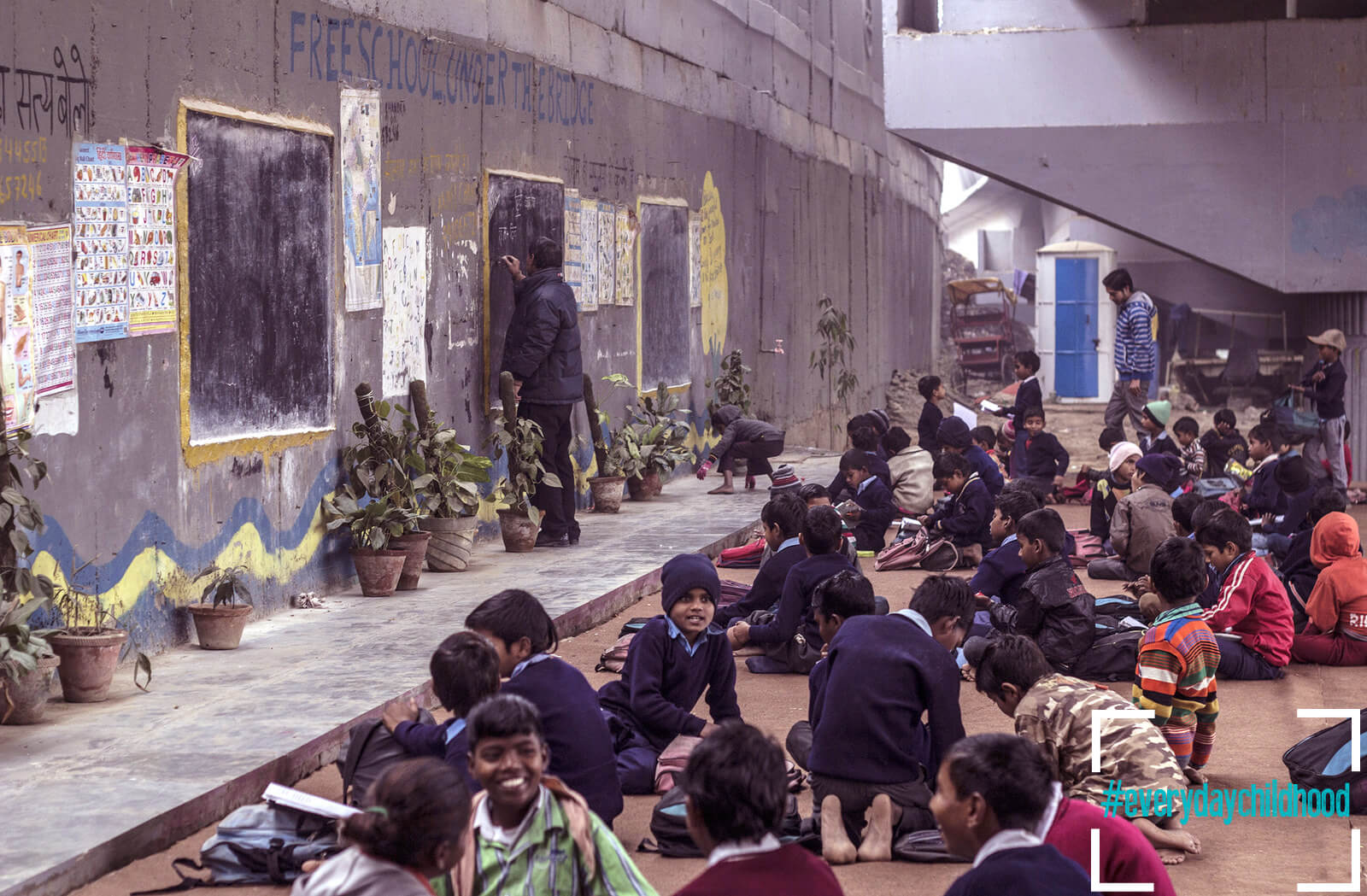 Everydaychildhood- Ahmer Khan's depiction of a school under a bridge | Leher NGO in India